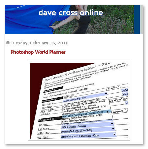 Dave's Photoshop World Planner